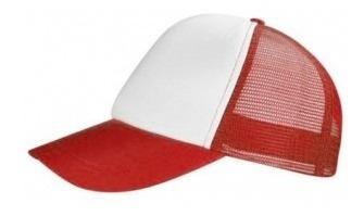 Gorra Trucker Combinada Blanco Con Rojo