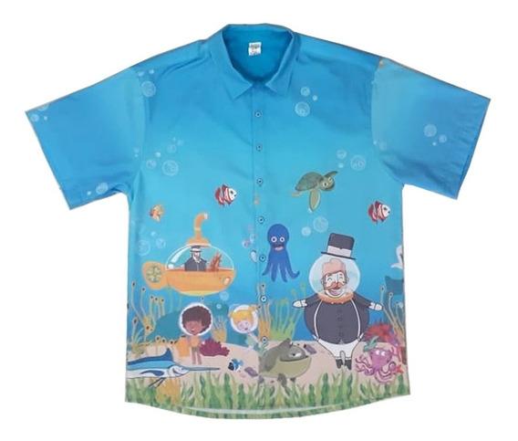 Camisa Pai Mundo Bita No Fundo Do Mar Azul Adulto