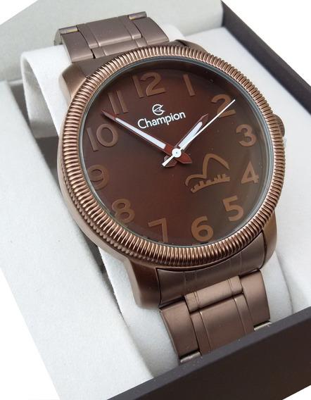 Relogio Feminino Champion Cn29776r Chocolate Dourado Origina