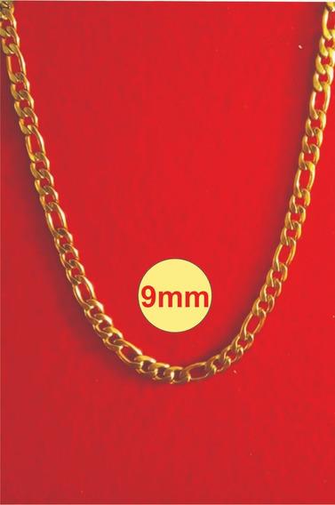 Corrente Groumet Unissex Banhada A Ouro 18k 9mm