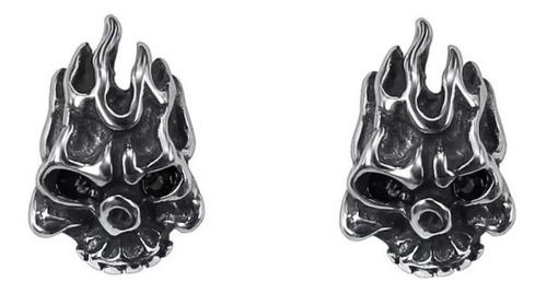 Imagen 1 de 3 de Aretes Craneo Calavera Negros Hombre Ghost Rider Acero Inox