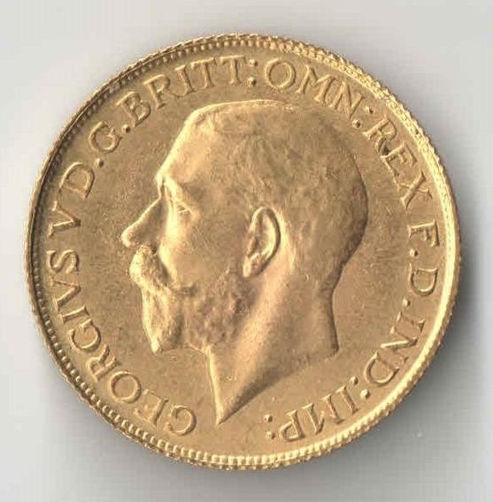 Inglaterra 1 Libra 1919 George V 7,98 Gramas Ouro
