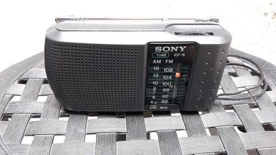 Rádio Portátil Usado Sony Modelo Icf8 Am.fm Semi Novo