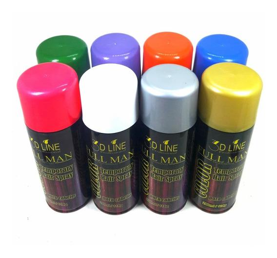 Color Hair Spray Tinta P Cabelo Full Man 200ml(kit C 8 Unid)