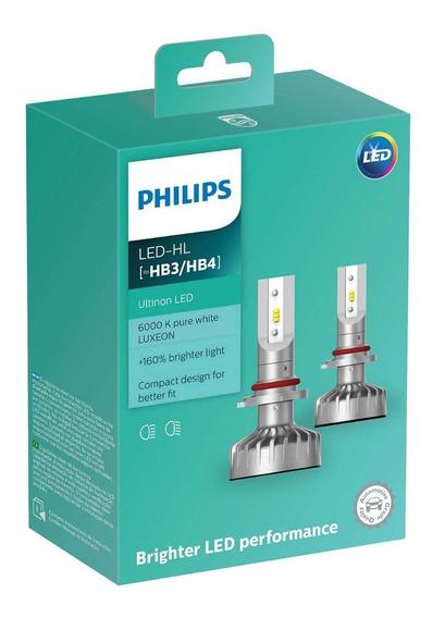 Par Lâmpada Philips Led Ultinon Hb3 Hb4 12v 6000k 160% + Luz