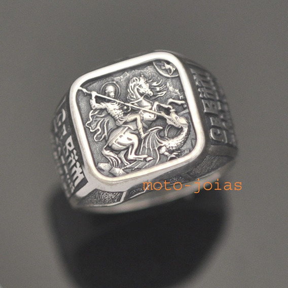 Anel São Jorge - Santo Guerreiro Em Prata (moto-joias)