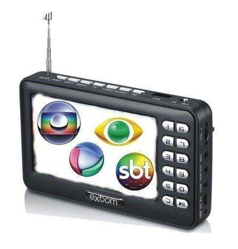 Mini Tv Digital Portátil Com Tela 4.3 Rádio Fm Exbom Mtv-43a