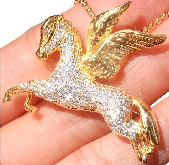 Deslumbrante Cadena Dije Pegaso Diamante Cultivado 14k Oro