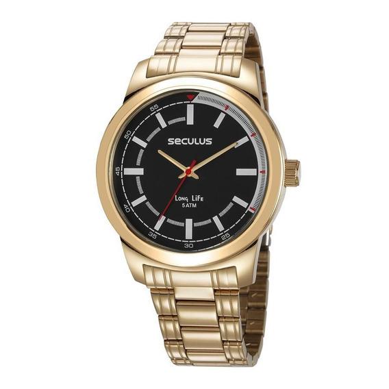 Relógio Seculus Masculino Dourado Fundo Preto 23643gpsvda3 - Garantia De 2 Anos