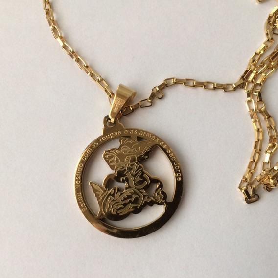 Colar São Jorge Corrente Medalha Dourado Inox Antialérgico