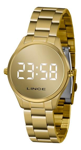 Relógio Lince Pequeno Espelhado Led Dourado Mdg4617lbxkx