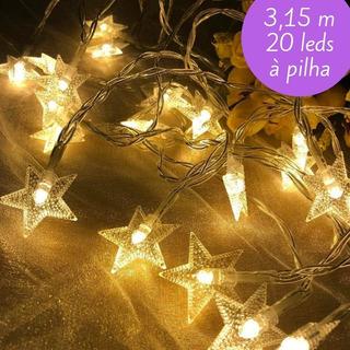 Fio Cordão Luminoso Led Estrela Pilha Decoração Casamento Varal Festa Noturno Luz
