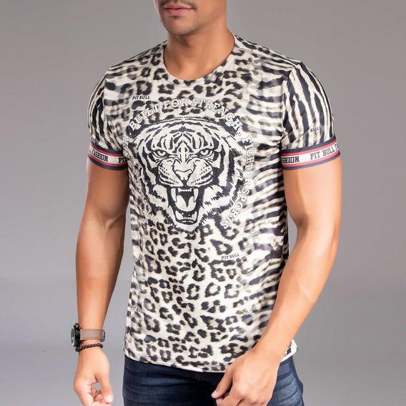 Camiseta Masculina Pit Bull Jeans Gola O 33388