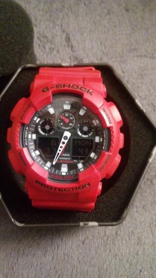 Relógio Casio G Shock Ga-100b-4adr Original Vermelho