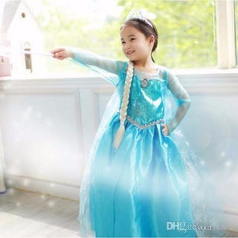 Vestido Fantasia Elsa + Kit Completo De Acessórios Fashion