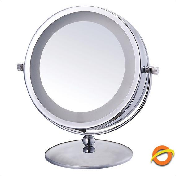 Espejo Doble Aumento Iluminado Luz Led Belleza Maquillaje