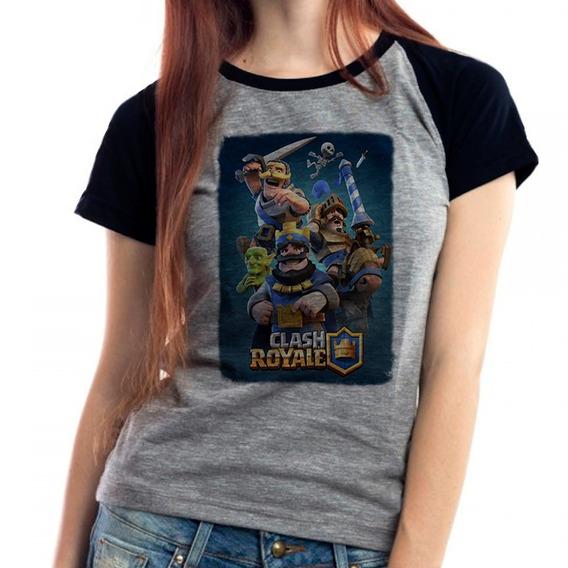 Camiseta Clash Royale Jogo Gamer Raglan Mescla Babylook