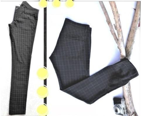 Remate De Pantalon Stradivarius Negro Con Cuadros Beige