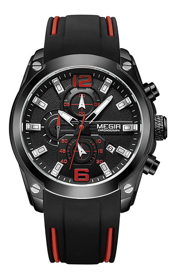 Megir 2063 Homens Esporte Relógio De Pulso Preto
