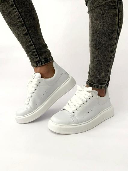 Zapatillas Mcqueen Cuero Urbanas Total White