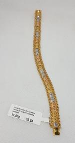 Pulseira Taparela 3 Cores Em Ouro 18k 750 18,50cm 11,91g