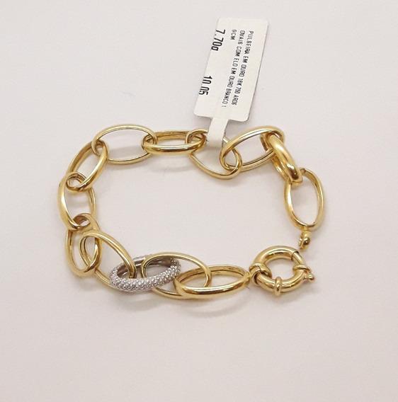 Pulseira Ouro 18k 750 Aros Ovais 19cm 7,70g