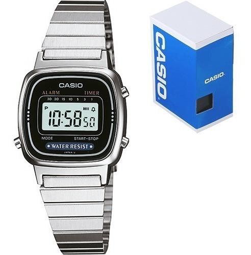 Reloj Dama Casio Retro Vintage La670 Plata Negro Original