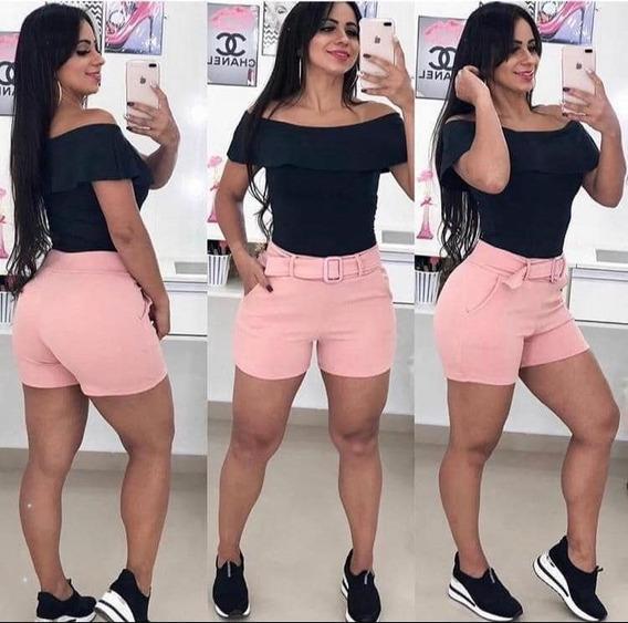 Shorts Cintura Alta Bengaline Com Cinto E Bolsos