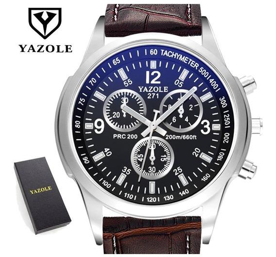 Relógio Masculino Marrom Yazole 271 Quartzo + Caixa