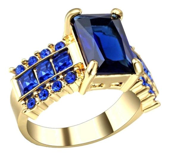 Aro 20 Anel Feminino Cristal Safira Azul 3 Banhos Ouro 31 P