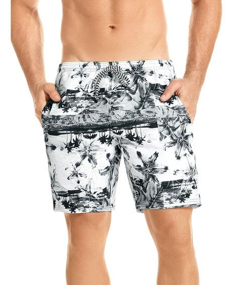 Pantaloneta De Baño Negra Corta Hawai Para Hombre (51901)