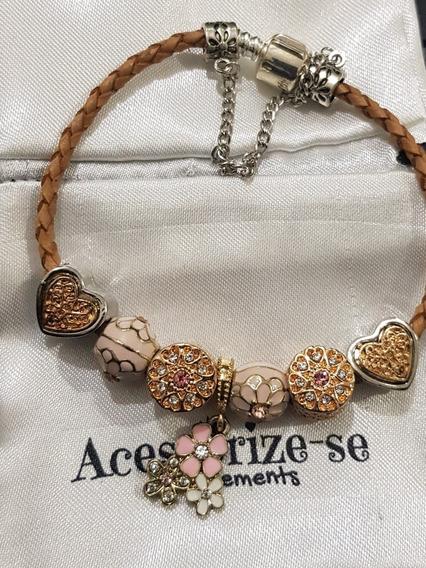 Pulseira Bracelete Berloque Completa Couro Pandora Pu21