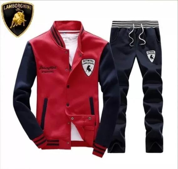 Conjunto Moletom Casaco E Calça Masculino Lamborghini Red