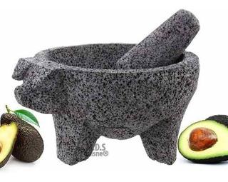 Molcajete Pig Head Black Lava 8 Mortar Pestle Bowl T