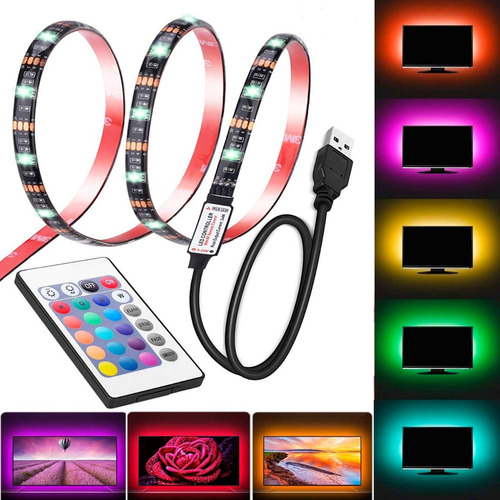 Cinta Led 16 Colores Tv Monitores 40-60  +control Remoto 2mt