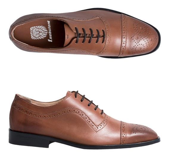 Zapato F.nebuloni Clasico En Cuero Color Bronce