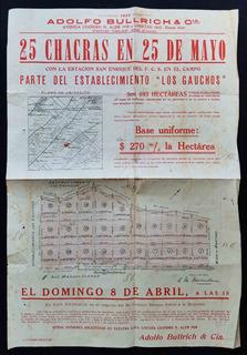 Antiguo Cartel Remate 25 Chacras En 25 De Mayo. 1923. 23008