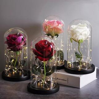 Lampara Rosa Eterna La Bella La Bestia Regalo San Valentin