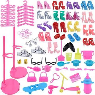 Greatlove 98 Pcs Barbie Original Juego Accesorios Tacones Ac