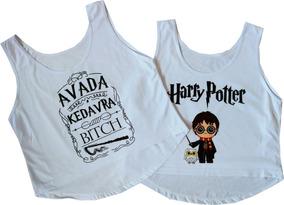 Blusa Cropped Harry Potter Kit 2 Camiseta Feminina Barato!
