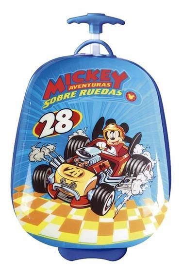 Mochila Rígida Mickey Con Carro Infantil Valija 16 Pulgadas