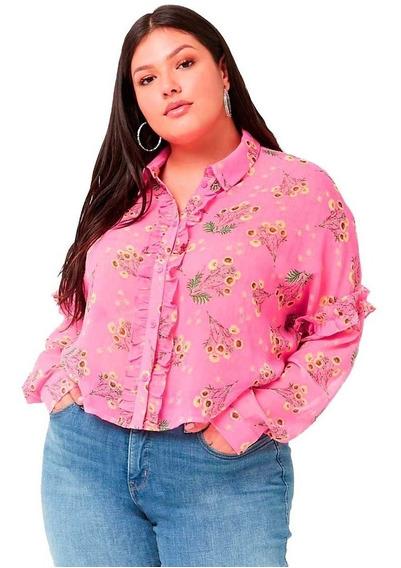 Camisa Blusa Gasa Fucsia Forever 21 Talle 3x