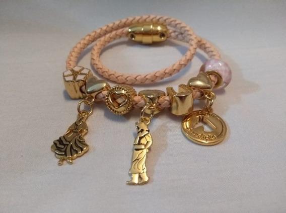 Pulseira Bracelete Flor De Lis Com Couro Semi Joia Numero 12