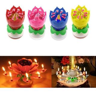 Vela De Flor Giratoria Musical Ideal Para Cumpleaños Benjoa