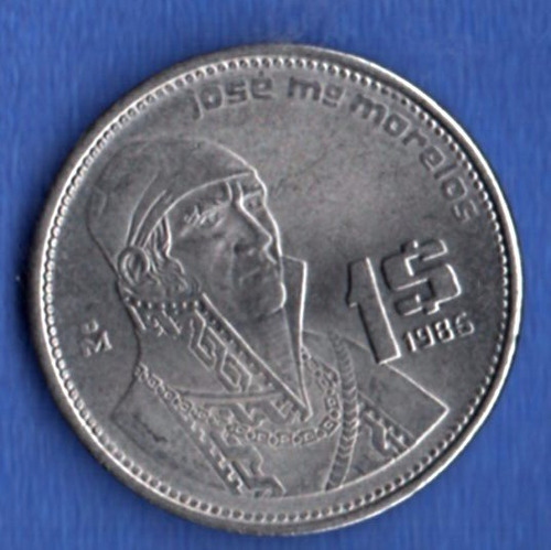 Imagen 1 de 3 de Moneda Mexico  Un Peso Acero Morelos  1986            A1 31