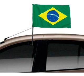 Bandeira Do Brasil Com Suporte Janela Do Carro - 2un