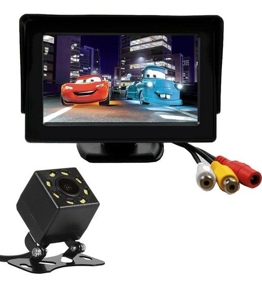 Tela Monitor Veicular 4.3 Lcd + Camera Re Visao Noturna