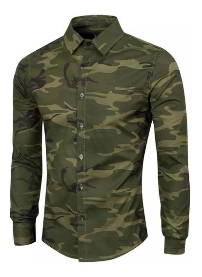Camisa Camuflada Hombre Entallada Luxo - X L