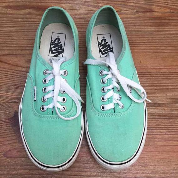 Zapatillas Vans Lona Verde Agua Nro 38