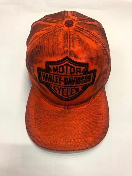 Bone Harley Davidson Laranja Sujo Classico